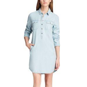 Eileen Fisher Denim Chambray Midi Shirt Dress size Medium